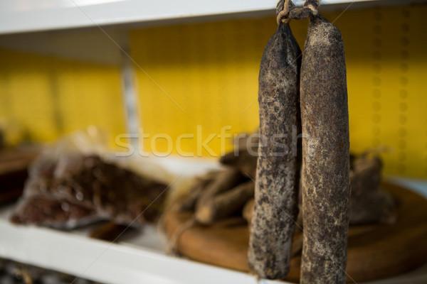 Primer plano colgante secar salchicha mercado Internet Foto stock © wavebreak_media