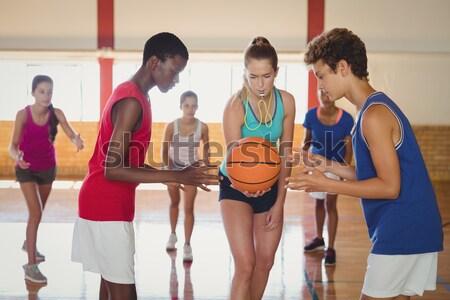 школу дети начала играет баскетбольная площадка женщину Сток-фото © wavebreak_media
