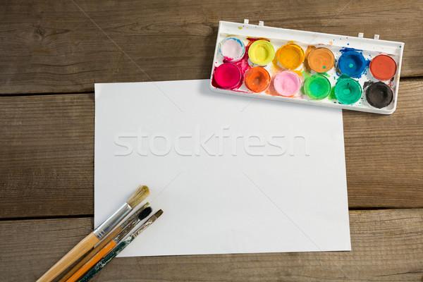 красочный палитра кисти чистый лист бумаги поверхность Сток-фото © wavebreak_media