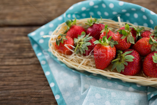 Fresh strawberries in wicker tray Stock photo © wavebreak_media