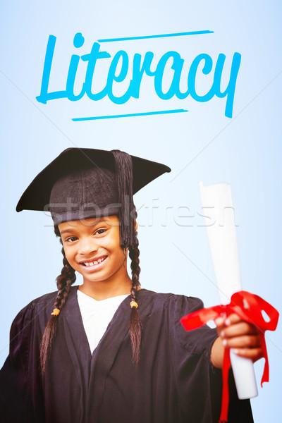 Okur yazarlık mavi kitaplar çocuk okuma mezuniyet Stok fotoğraf © wavebreak_media