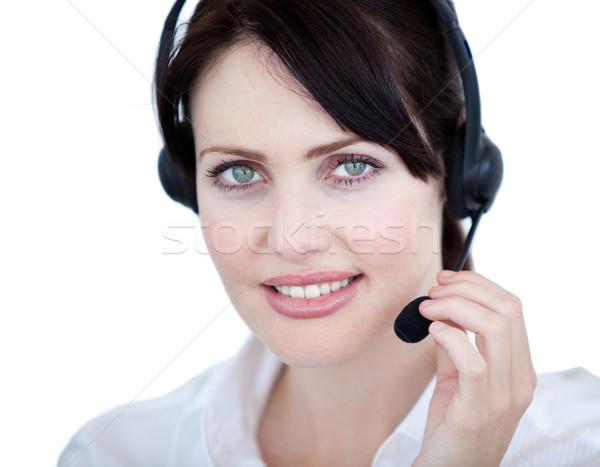 Ventes représentant femme casque blanche affaires Photo stock © wavebreak_media