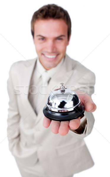 Vonzó üzletember mutat szolgáltatás harang izolált Stock fotó © wavebreak_media