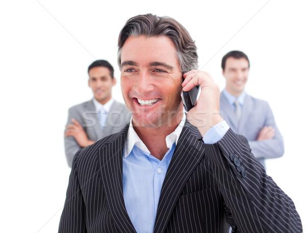 Karizmatikus üzletember beszél telefon fehér üzlet Stock fotó © wavebreak_media