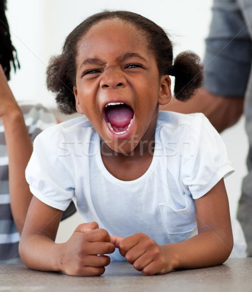 Colère petite fille cuisine enfant maison Photo stock © wavebreak_media