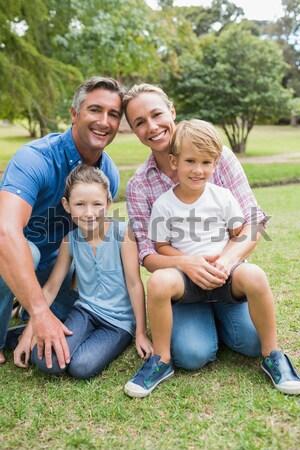 Portret glimlachend familie picknick park voedsel Stockfoto © wavebreak_media
