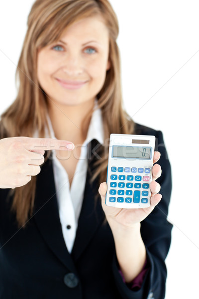 Isolado mulher calculadora sorridente câmera Foto stock © wavebreak_media