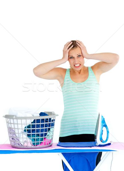 Foto stock: Chateado · mulher · branco · trabalhar · roupa