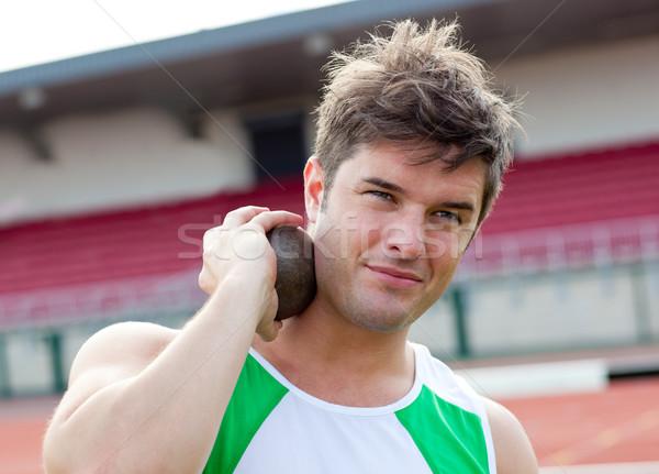 Konsantre erkek atlet ağırlık stadyum adam Stok fotoğraf © wavebreak_media