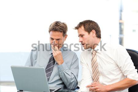 Kettő jóképű üzletemberek együtt dolgozni projekt ül Stock fotó © wavebreak_media