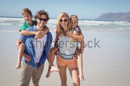 Stock fotó: Boldog · gyerekek · játszik · szülők · nő · mosoly