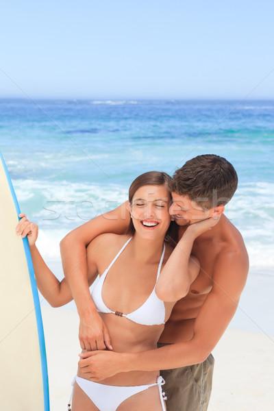 Casal prancha de surfe mulher água esportes natureza Foto stock © wavebreak_media