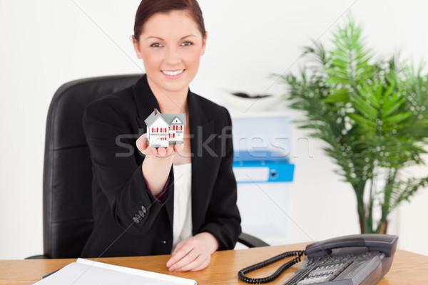Jovem boa aparência mulher terno miniatura Foto stock © wavebreak_media