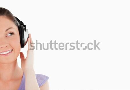 肖像 美人 ポーズ ヘッドホン 立って 白 ストックフォト © wavebreak_media