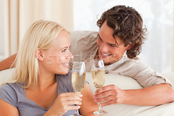 Couple making a toast in their living room Stock photo © wavebreak_media