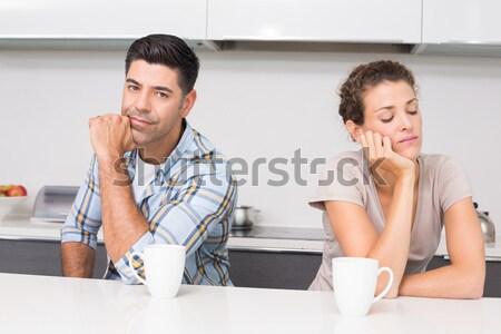 S'ennuie couple potable café cuisine femme Photo stock © wavebreak_media