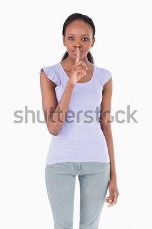 Genç kadın sessizlik beyaz arka plan Stok fotoğraf © wavebreak_media