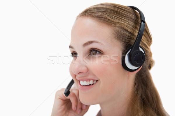 Zdjęcia stock: Widok · z · boku · uśmiechnięty · call · center · agent · biały · działalności