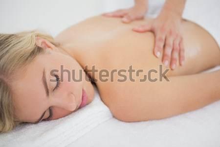 Közelkép lövés nő alszik ágy fej Stock fotó © wavebreak_media
