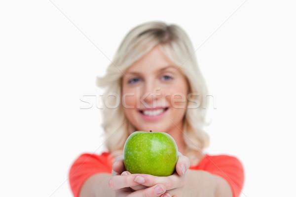 зеленый яблоко женщину рук белый продовольствие Сток-фото © wavebreak_media