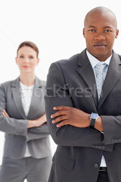 деловая женщина за бизнесмен рук заседание счастливым Сток-фото © wavebreak_media
