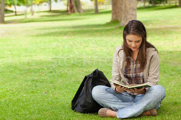 Teenager sitting while reading her textbook in a park Stock photo © wavebreak_media