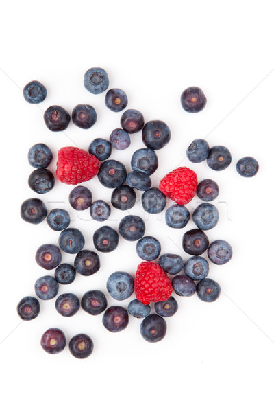 Framboises bleuets blanche fruits dessert sweet Photo stock © wavebreak_media