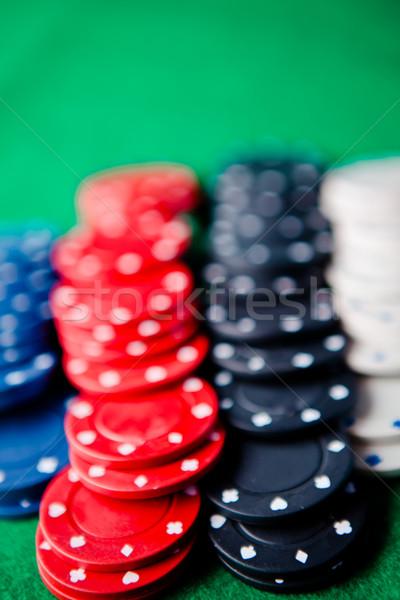 чипов зеленый спорт таблице покер играет Сток-фото © wavebreak_media
