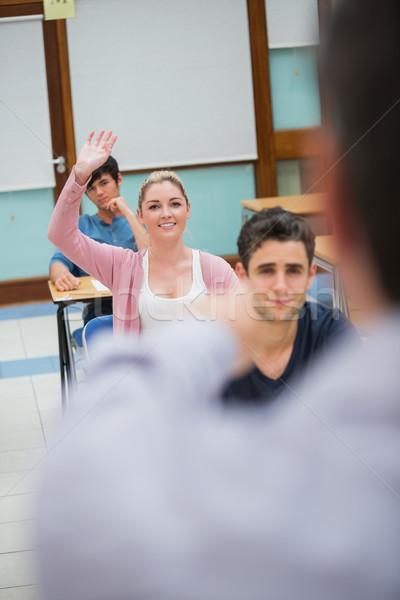 Kadın soru sınıf kolej el Stok fotoğraf © wavebreak_media