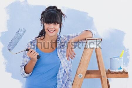 Постоянный женщина улыбается фартук резиновые перчатки Сток-фото © wavebreak_media