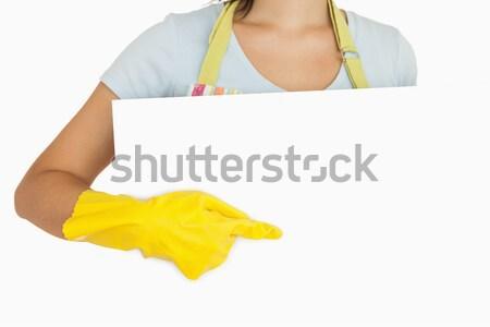 Uśmiechnięta kobieta rękawice gumowe fartuch stałego za pokładzie Zdjęcia stock © wavebreak_media