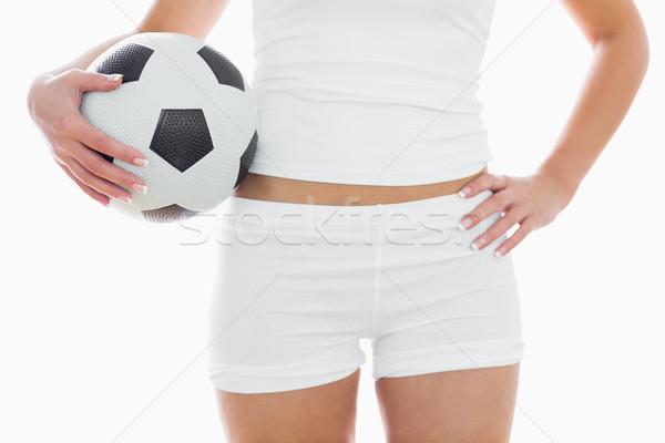 Fitt nő sportruha futball áll fehér Stock fotó © wavebreak_media
