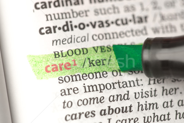 Foto d'archivio: Care · definizione · verde · dizionario · istruzione · rosso