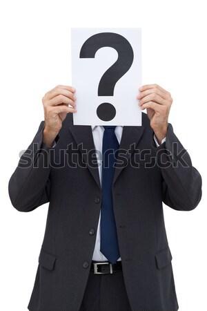 üzletember tart kérdőjel papír fehér öltöny Stock fotó © wavebreak_media