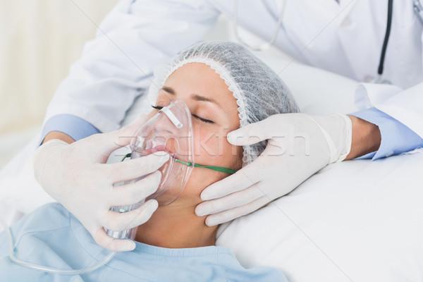 Female patient receiving artificial ventilation Stock photo © wavebreak_media