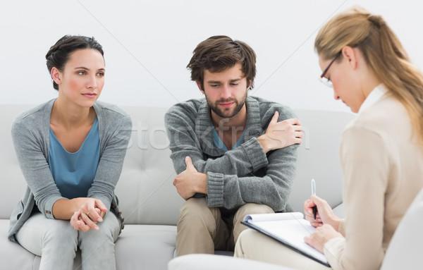 Casal reunião relação conselheiro escritório escrita Foto stock © wavebreak_media