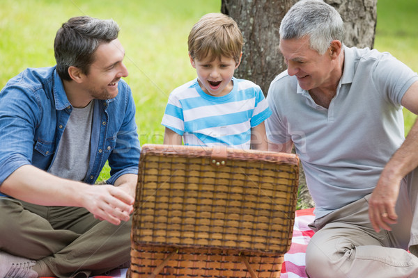 Grandfather father and son with picnic basket at park Stock photo © wavebreak_media