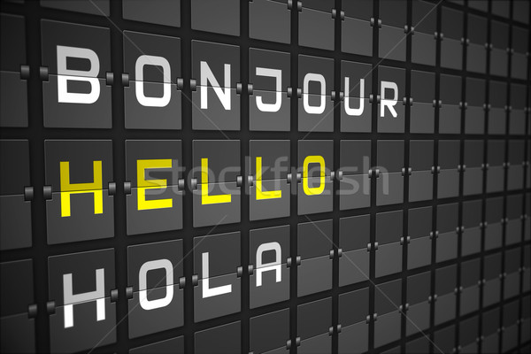 Hello in languages on black mechanical board Stock photo © wavebreak_media