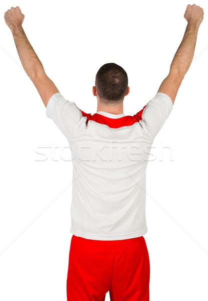 Izgatott futballista éljenez fehér futball futball Stock fotó © wavebreak_media