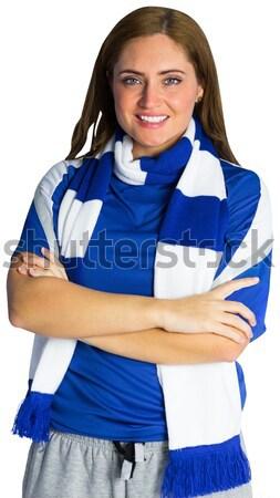 Pretty football fan in blue jersey Stock photo © wavebreak_media