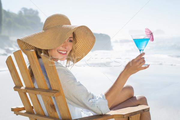 Kobieta relaks pokład krzesło morza Zdjęcia stock © wavebreak_media