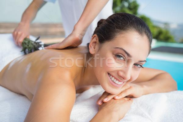 Lächelnd Brünette Aromatherapie Behandlung außerhalb spa Stock foto © wavebreak_media