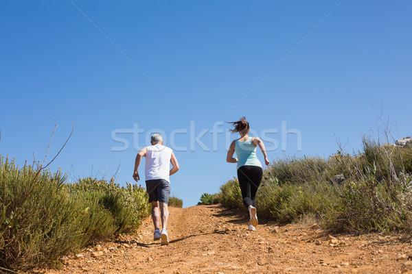 соответствовать пару бег вверх горные тропе Сток-фото © wavebreak_media