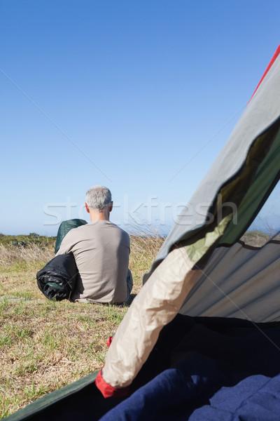 Boldog lakókocsi ül kívül sátor tart Stock fotó © wavebreak_media