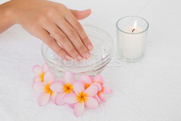 Mão tigela flores vela mulher Foto stock © wavebreak_media