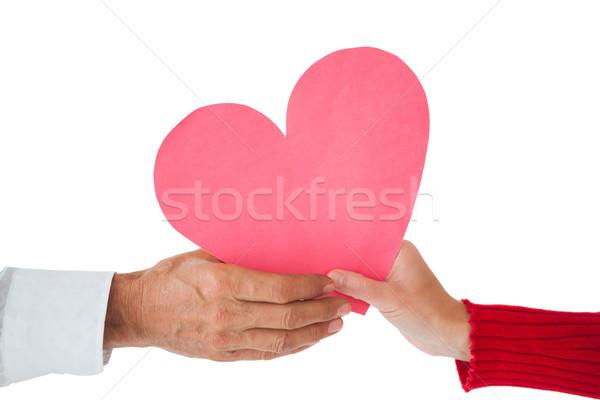 пару бумаги сердце белый любви человека Сток-фото © wavebreak_media