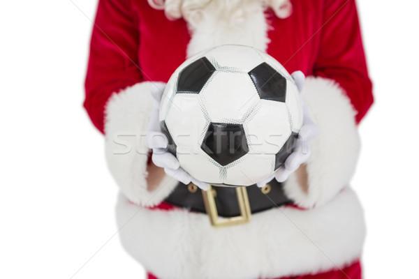 Középső rész mikulás tart futball fehér sport Stock fotó © wavebreak_media