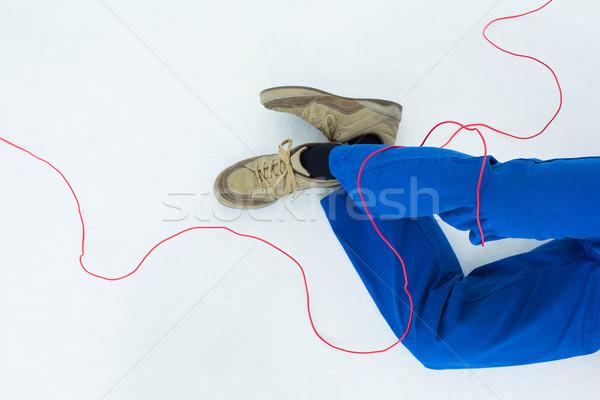 Eletricista arame baixo seção branco azul Foto stock © wavebreak_media