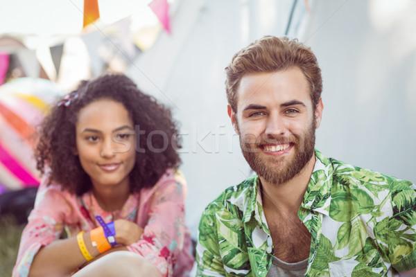 Gelukkig hipsters glimlachend camera muziekfestival man Stockfoto © wavebreak_media