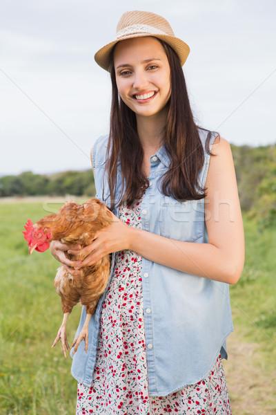 счастливым брюнетка куриные женщину Сток-фото © wavebreak_media